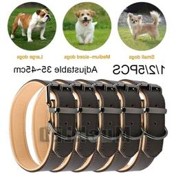1/2/5Pack 35-45cm Strong Leather Dog Collar and Nylon Leash