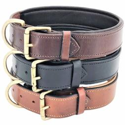 """1.5"""" Width Padded Dog Collar HEAVY DUTY Genuine Real LEATHER"""