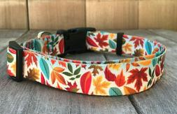 1 inch Colorful Fall Leaves Adjustable Dog Collar with Quick