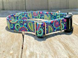1 inch colorful paisley adjustable dog collar