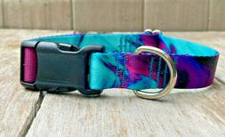 1 inch Colorful Purple and Teal Adjustable Dog Collar with Q