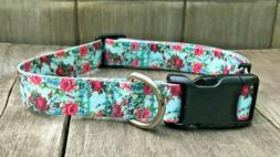 1 inch Colorful Roses Floral Adjustable Dog Collar with Quic