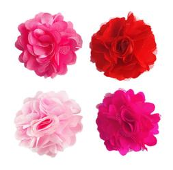 2'' Mesh Fabric Flowers For Female Dog Collar Accessory Pet
