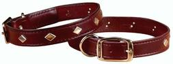 "Hamilton 3/4"" x 18"" Diamond Pattern Studded Burgundy Leather"