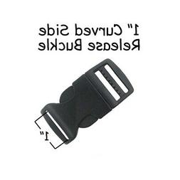 5 Buckles - 1 Inch Black Plastic Curved Side Release Buckle