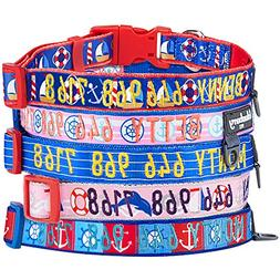 Blueberry Pet 8 Patterns Personalized Dog Collar, Nautical S