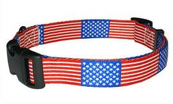 American USA Patriotic Flag Dog Pet Collar by PatriaPet in S