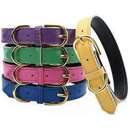 Aolove Basic Collars Classic Padded Leather Pet For Cats Pup