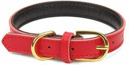 AOLOVE Basic Classic Padded Leather Pet Collars SIZE: XS