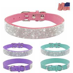 Bling Rhinestone Dog Pet Cat Puppy Neck Leather Collar Cryst