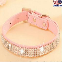 bling rhinestone leather crystal diamond puppy collar