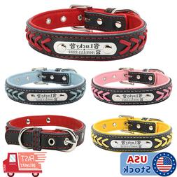 Braided Custom Personalized Dog Collar Leather Padded Dog Pe