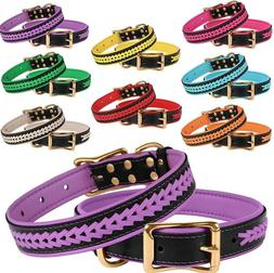 Soft Padded Dog Collar Leather Braided Collars for Dogs Bras