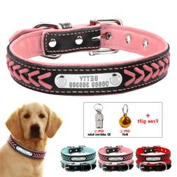 Braided Leather Personalized Dog Collar Soft Padded Pet Cat