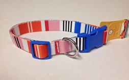 Brand New Dog Collar LARGE Colorful Stripes Quick Release Bu