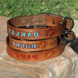 "High Quality Thick Brown 1"" Real Leather Dog Collar, Persona"