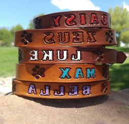 "Brown 3/4"" Custom Leather Dog Collar Personalized K9 Pet Nam"