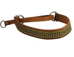 "Brown Genuine Leather 1"" Wide Martingale Dog Collar Choker,"