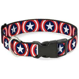 Buckle Down Captain America Shield Repeat Navy Dog Collar