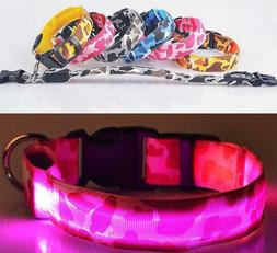 CAMOUFLAGE LED RECHARGEABLE COLLAR CAMO light-up Dog Pet Saf