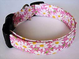 Charming Pink with White Daisies Daisy Flower Dog Collar