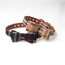 Plaid Dog Cat Collar - Pet Bowtie Pu Leather Adjustable Gold