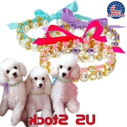 Crystal Pearl Dog Necklace Collar Bowknot Puppy Cat Elastic