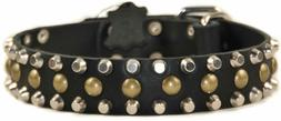 """Dean and Tyler """"STUDLY"""" Leather Dog Collar  Black 40"""" by 1-1"""