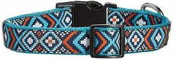 Friends Forever Dog Collar - Fashion Blue Woven Square Patte