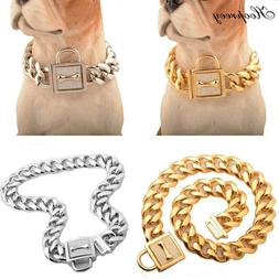 Dog Collar High Quality for Large Dogs Strong Silver Gold St