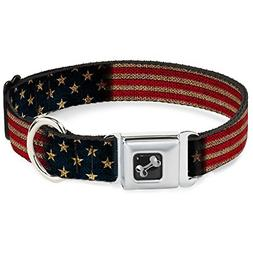 Dog Collar Seatbelt Buckle Vintage US Flag Stretch
