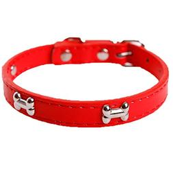 haoricu Small Dog Collars Bling Crystal with Bone Necklace P