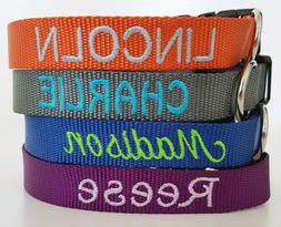 Embroidered Nylon Dog Collar Personalized Custom Adjustable,