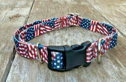 extra small toy dog collar american flag