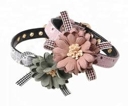 Flower Dog Collar in Pink or Greywith metal buckle sizes S