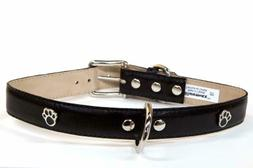 Bluemax Genuine Leather Vintage Cow Dog Collar with Paw Stud