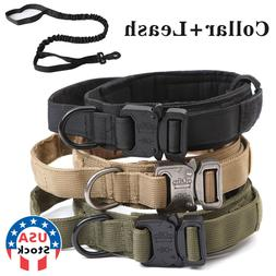 HEAVY DUTY K9 Military Dog Collar Leash Handle Medium Large