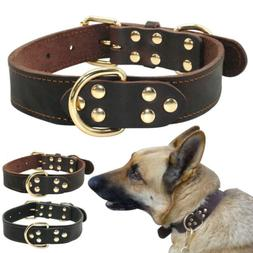 Heavy Duty Leather Large Dog Collars Authentic Plain Dog Col