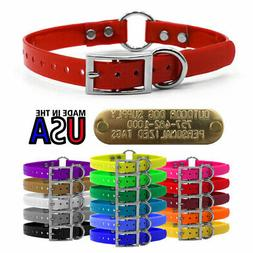 """Hunting Dog Solid Name Collar 3/4"""" Strap Ring in Center & Br"""
