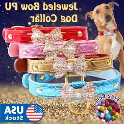 Jeweled Bow PU Dog Collar Leather crystals Cat Adjustable  H