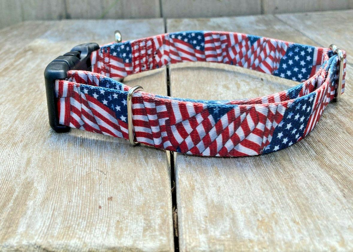 1 inch Flag Patriotic Dog with Buckle