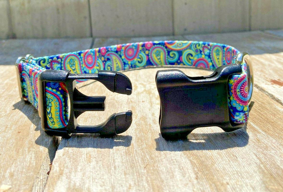 1 inch Colorful Paisley Adjustable Collar Quick Release Buckle Made