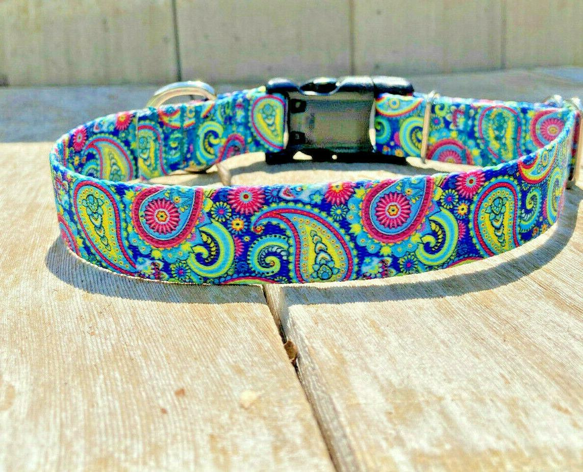 1 Colorful Paisley Adjustable Dog Collar Quick USA Made