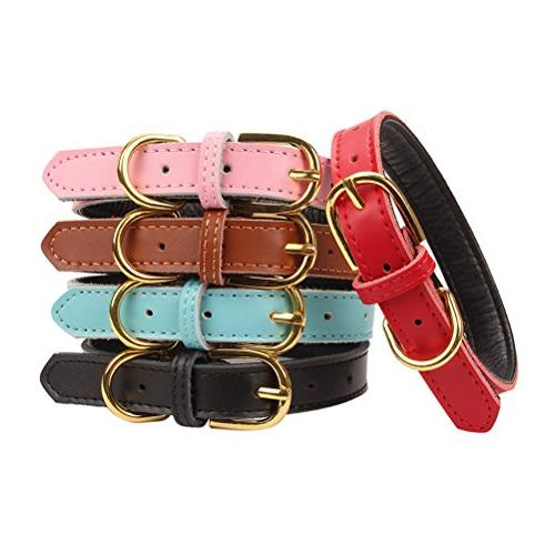 AOLOVE Basic Classic Padded Genuine Leather Pet Collars for