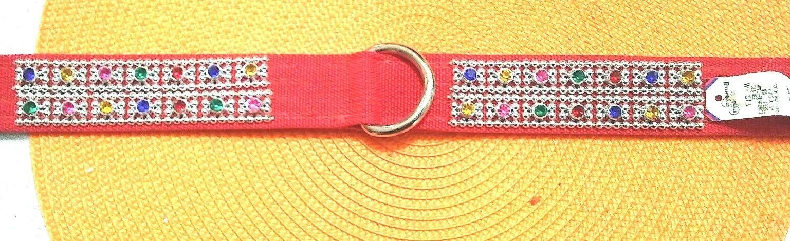 DOG COLLAR, THICK, EXTRA COLORED RHINESTONES, D