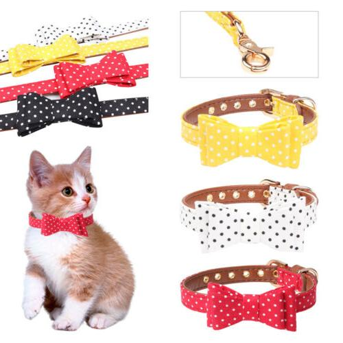 Dog Bow Tie Collars Puppy Cat Neckerchief Leather Padded Pet