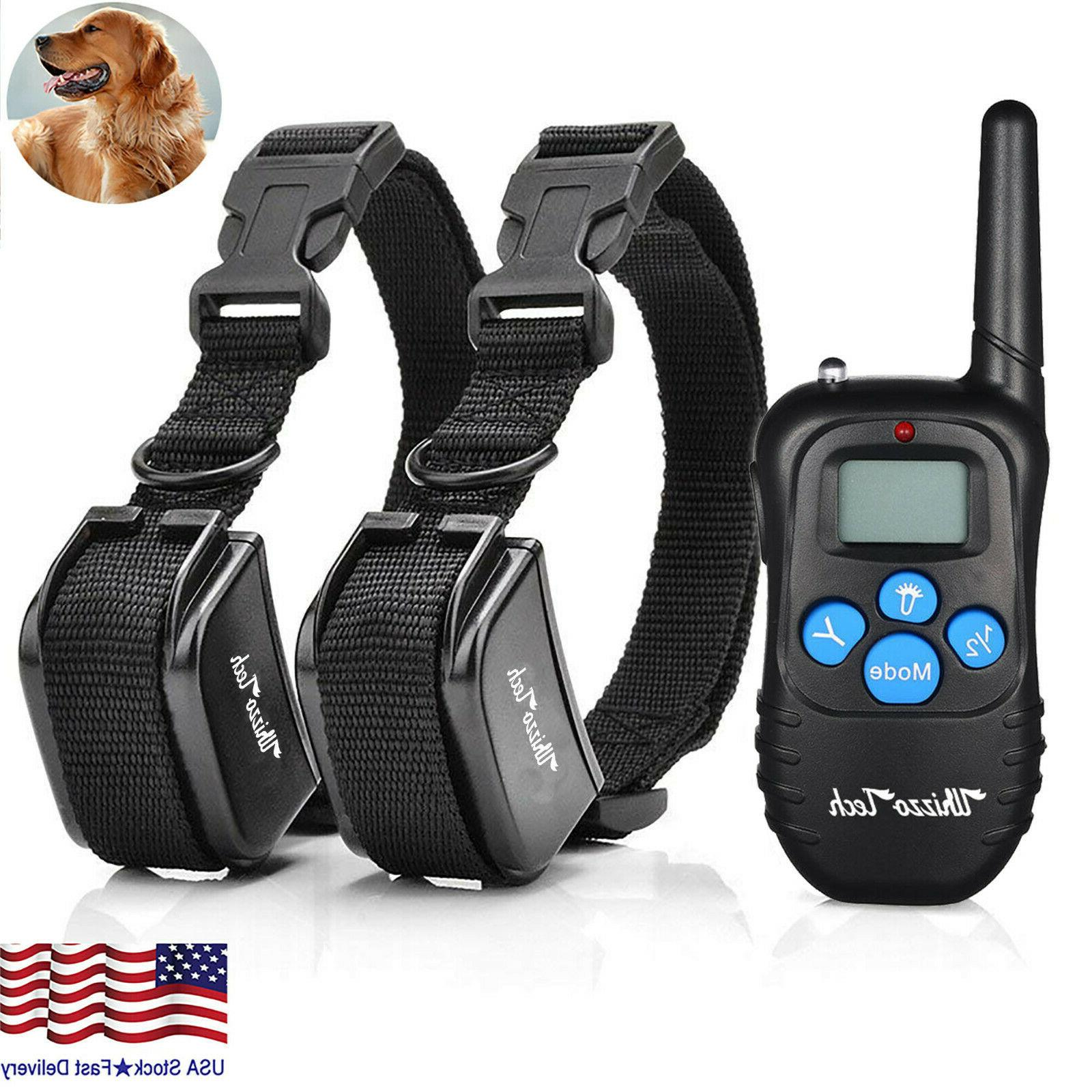 dog shock training collar rechargeable lcd remote