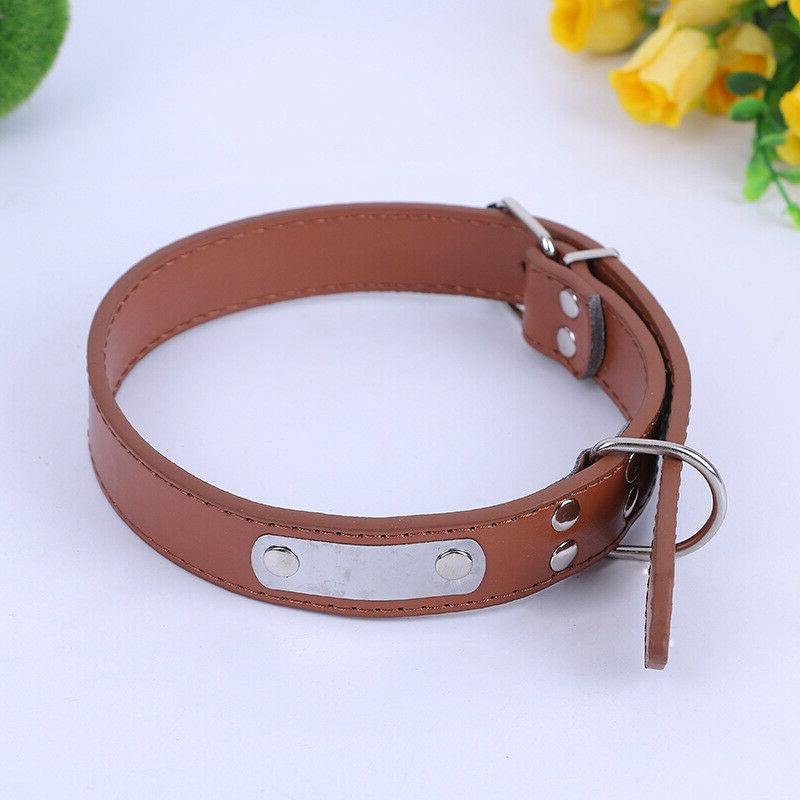 All Breeds Dog Collars Leather Pet ID Collar Puppy Cat  Neck