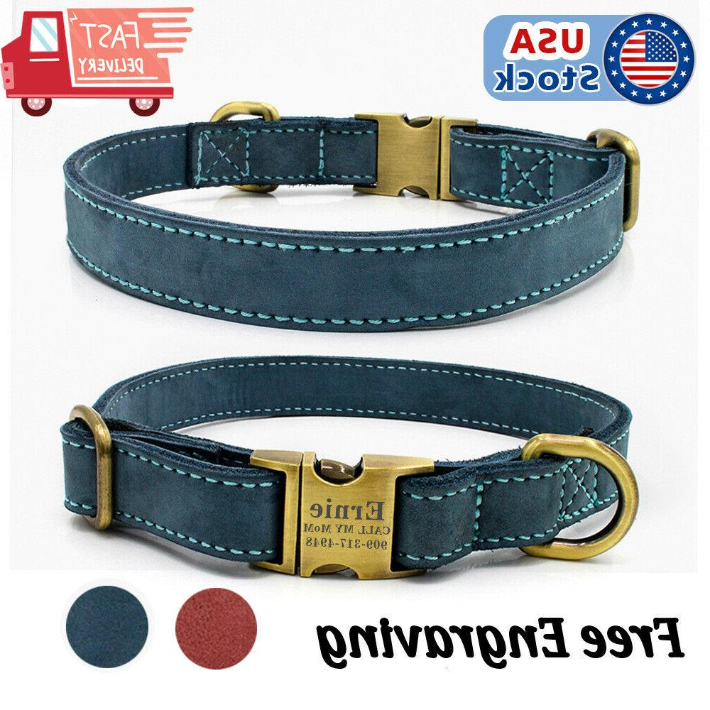 genuine leather personalized dog collar id tag