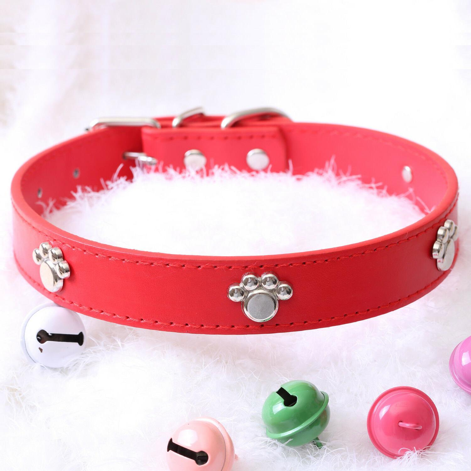 Jeweled Faux Leather Collar Cat Small XS Adjustable Hook